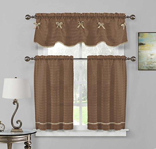 Home Maison  - Carlee Semi Sheer W/ Bow Tie Kitchen Tier & Valance Set | Small Window Curtain for Cafe, Bath, Laundry, Bedroom - (Brown & Taupe)