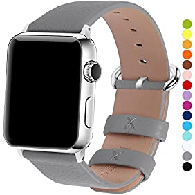 Apple Watch Bands 42mm, Fullmosa Yan Series Lichi Calf Leather Replacement Band/Strap with Stainless Steel Clasp for Apple iWatch Series 1 & 2 Sport and Edition Versions 2015 2016,Grey