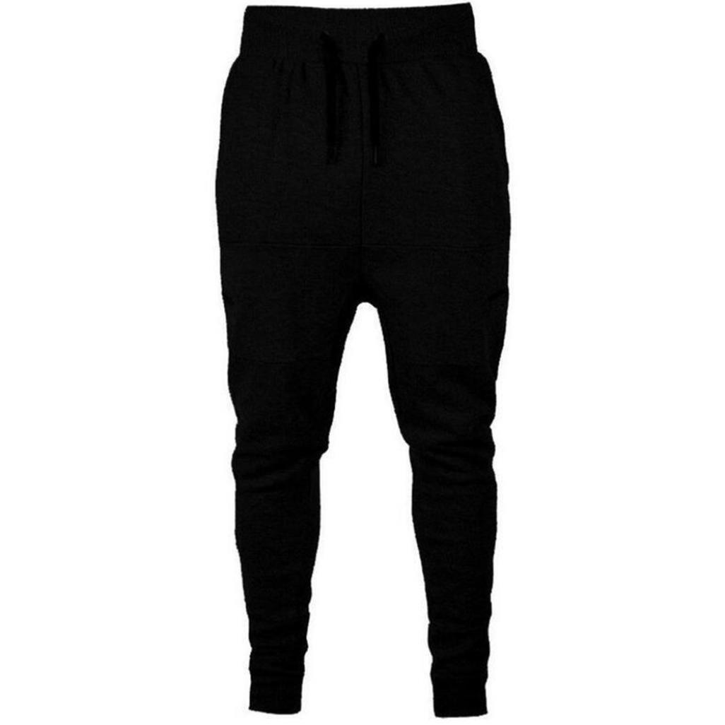 PASATO Hot! Men's Casual Autumn Cotton Patchwork Sports Run Gym Jogger Pants Trousers(Black, XXXL)