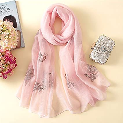 02fa22206 Ahuiopl Designer Brand Women Scarf Spring Summer Embroidery Silk Scarves  Lady Shawls and Wraps Beach Stoles