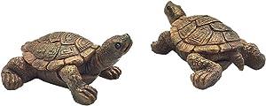 2 Pcs Miniature Turtle Figurines, Fish Tank Decoration Fairy Garden Teutle Landscape Decor Ornament