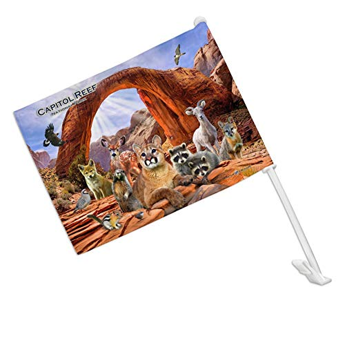 (GRAPHICS & MORE Capitol Reef National Park Utah UT Animals Cougar Prairie Dog Deer Raccoon Car Truck Flag with Window Clip On Pole Holder - Right Passenger Side)