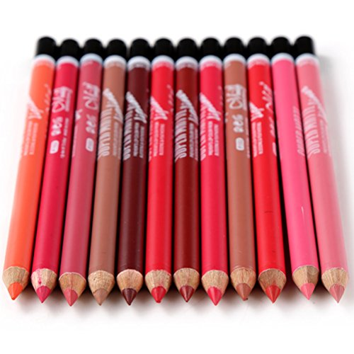 YeeSure 12 pc Matte Lip Liner Pencils Set for 12 Colors Waterproof Fine