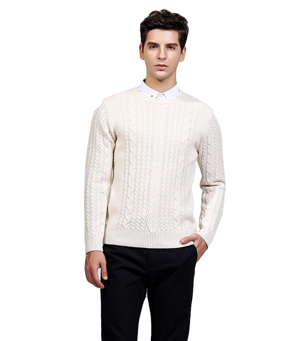 ICEGREY Mens Knit Sweater Pullover Crew Neck Slim Fit Sweater Tops Off White 38