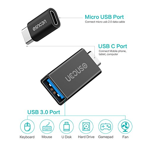 UCOUSO USB C to USB3.0/Mirco USB Adapter Slim Aluminum Type C Converter Compatible with Lenovo YOGA900/ Huawei HC-W09/ HTC10/ LG G5/ Lumia950 and More (Black)