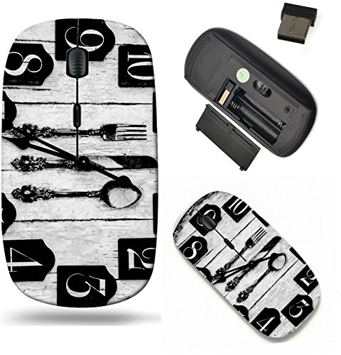 (Liili Wireless Mouse Travel 2.4G Wireless Mice with USB Receiver, Click with 1000 DPI for notebook, pc, laptop, computer, mac book Vintage wooden clock with dinner equipment print 29607030)