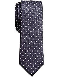 "<span class=""a-offscreen"">[Sponsored]</span>Zig Zag Striped Textured with Polka Dots Woven Microfiber 2"" Skinny Tie"