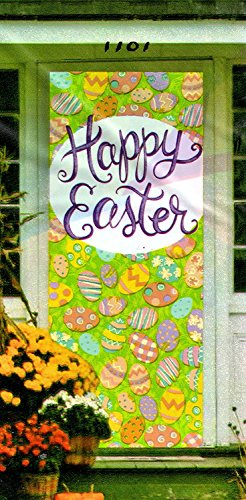 Easter Door Cover Decoration - Happy Easter with Decorative Eggs