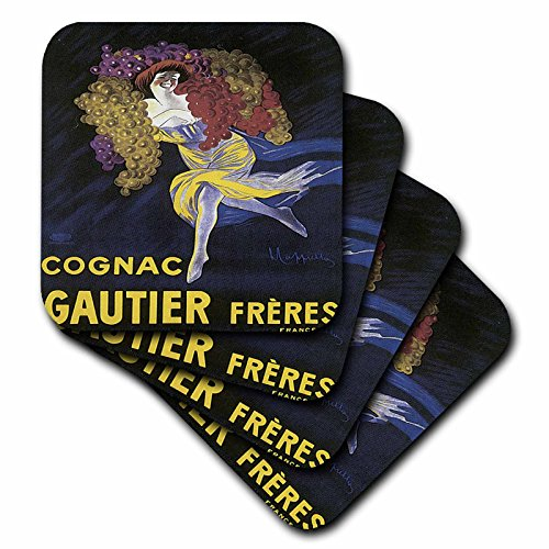 3dRose cst_129945_1 Vintage Cognac Gautier France Advertising Poster-Soft Coasters, Set of 4