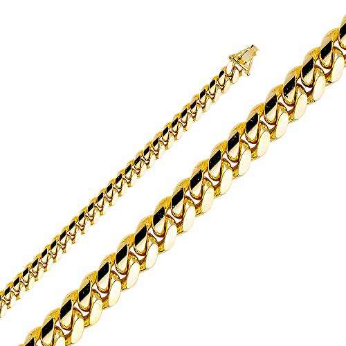 Jewelry : Wellingsale 14k Yellow Gold SOLID 8mm Polished Miami Cuban Concaved Curb Chain Necklace
