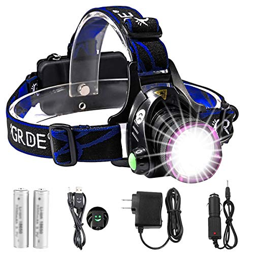 GRDE Headlamp, Zoomable Brightest High LED Work Headlight 3 Modes with Rechargeable Batteries Flashlight, USB Cable for Camping, Hiking, Outdoors (Purple)