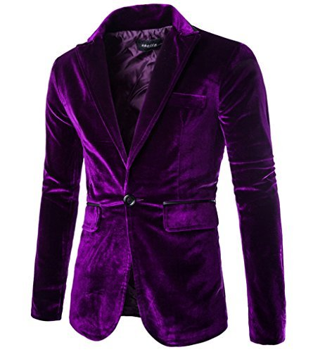 Rlouw Mens Stylish Peaked Lapel Blazer Jacket Purple ()