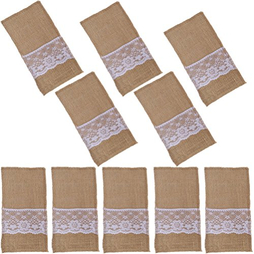 Arlai Pack of 10 Natural Burlap Utensil Holders Knifes Forks Bag Cutlery Pouch 4 x 8 Inch Vintage Wedding Decor -