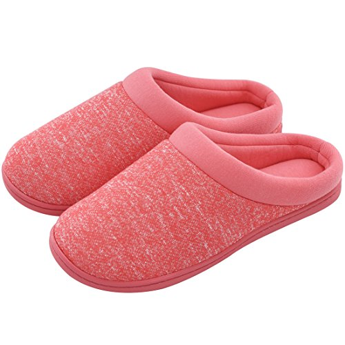 Japanese Weekend Maternity Clothes - Women's Comfort Slip On Memory Foam French Terry Lining Indoor Clog House Slippers (Medium / 7-8 B(M) US, Red)