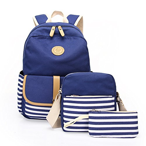 Canvas Book Bags - School Backpack, Aiduy Student Canvas Bookbag Lightweight Laptop Bag with Shoulder Bags and Pen Case for Teen Boys and Girls (Navy, 3pcs)