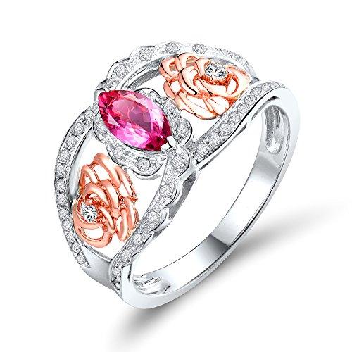 Lanmi Fashion Jewelry Solid 14K Multi-tone Gold Natural Marquise Pink Tourmaline Diamond Ring (Setting Marquise Mount Ring Semi)