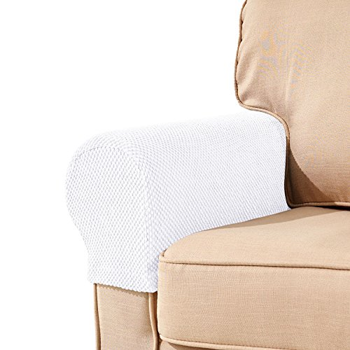 Subrtex Spandex Stretch Fabric Armrest Covers Anti-Slip Furniture Protector Armchair Slipcovers for Recliner Sofa Set of 2?White Jacquard?