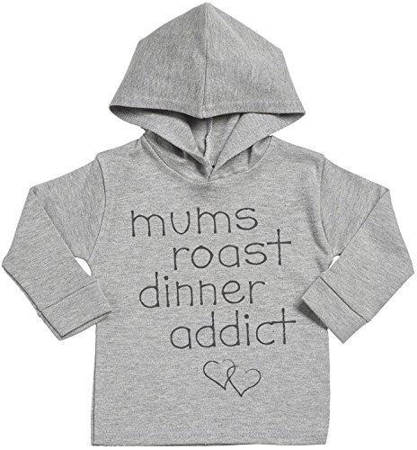 SR - Personalised Custom Roast Dinner Addict Baby Cotton Baby Hoodie - Personalised Baby Gift - Personalised Baby Clothing - Grey - 2-3 years (Hoodie Addict)