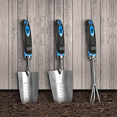 Prostormer 3-Piece Garden Tool Set, Heavy Duty Stainless Steel Gardening Gift Kit with Non-Slip Ergonomic Handles - Includes Trowel, Transplant Trowel & Cultivator Hand Rake