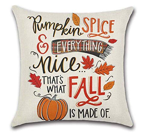SLS Happy Thanksgiving Pumpkin Spice and Everything Nice That's What Fall is Made of Cotton Linen Decorative Throw Pillow Case Cushion Cover Linen Pillow case 18X18 (19) (Nice Throw Pillows)