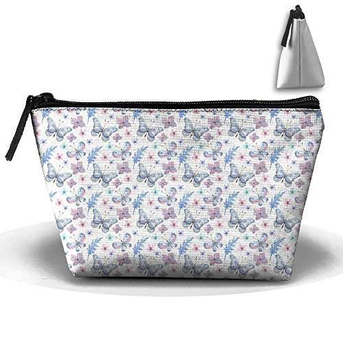 Elegant Flowers Watercolor Butterflies Pencil Pen Case Cosmetic Makeup Bag
