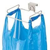 mDesign Over the Cabinet Metal Wire Small Garbage Container, Trash Bag Holder Rack for Recycled Reusable Disposable Plastic Shopping Grocery Bags for Kitchen, Pantry, Garage, Bathroom - Satin