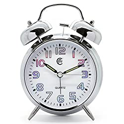 JCC 4 Retro Twin bell non ticking sweep second hand bedside alarm clock with Nightlight and Loud Alarm(White)