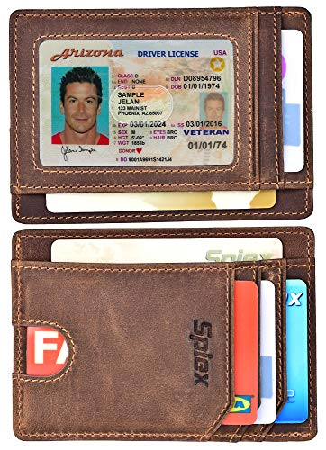 Spiex Slim Minimalist Wallet for Men & Women RFID Blocking Front Pocket Wallet