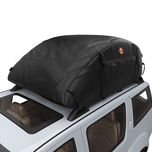 [Waterproof Upgrade] COOCHEER Car Roof Carrier- Waterproof Universal Soft Rooftop Bag Luggage Cargo Carriers for Car with Racks,Travel Touring,Cars,Vans, Suvs (15 Cubic Feet, Black)