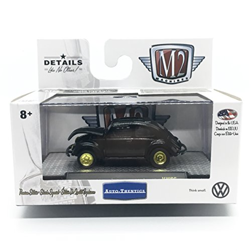 M2 Machines 1953 VW Beetle U.S.A. Model (Gloss Black) Auto-Thentics Volkswagen Release 5 - Castline 2018 Premium Edition 1:64 Scale Die-Cast Vehicle & Display Case Set (VW05 18-02)