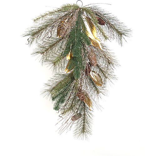 "JMB Home and Design Blue Spruce, Gold Magnolia & Pinecones 29"" Teardrop"