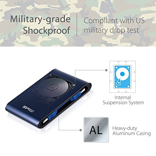 Silicon Power 2TB Type C External Hard Drive USB 3.0 Rugged Armor A80 Military-Grade Shockproof / IPX7 Waterproof, Dual Cables Included (Type C to Type A & Type A to Type A), Blue by Silicon Power (Image #2)