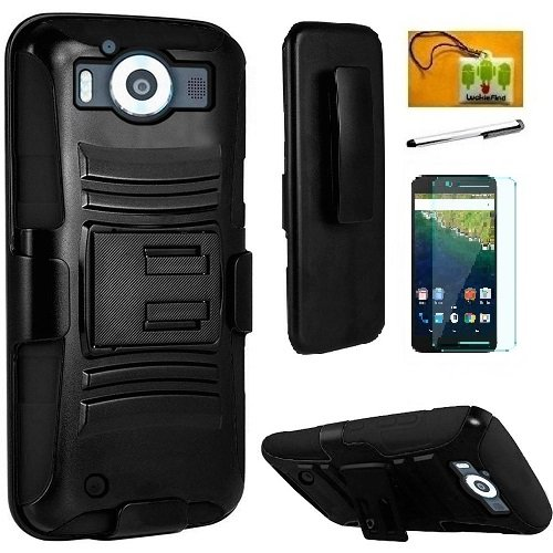 Microsoft Lumia 950 (at&T), LF Hybrid Armor Stand Case with Holster and Locking Belt Clip, Stylus Pen, Screen Protector & Wiper Accessory (Holster Black)
