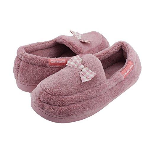 Donna Senfi In Pile Di Corallo, Pantofola In Morbido Peluche Slip On House Mocassino Piatto 02purple