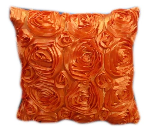 1 CLASSIC FLOWER SATIN SQUARE THROW ROSE PILLOW CASE CUSHION COVER SHAM SIZE 16X16 INCHES