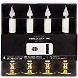LED Battery Operated Set of 4 White Taper Candle Sticks w Remote-Gold