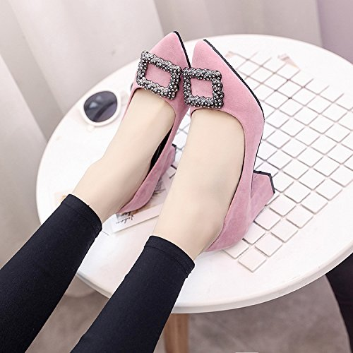 Xue Qiqi Qiqi Qiqi Tipp Satin Schuhe mit hohen Absätzen flachen Mund dick mit wilden einzelne Schuhe Arbeitsschuhe 34 Rosa e98944