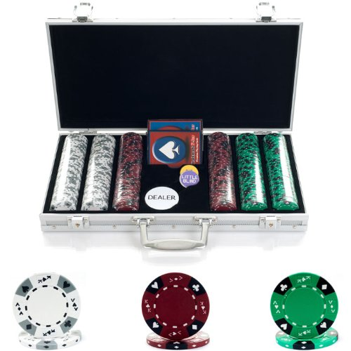 Suited Casino Tri Chips Color - Trademark Poker 300 Tri Color Ace/King Suited Chips in Aluminum Case, 14gm
