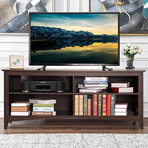 """Tangkula TV Stand, Modern Wood Large Wide Entertainment Center for TV up to 58"""", Living Room Media Console Stand with 4 Open Storage Shelves, Espresso"""