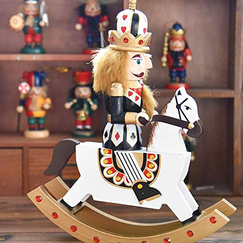 gelvs Traditional King Nutcracker Wooden Puppet Fingure with Rocking Horse Details German Soldier Collection for Christmas Xmas Display