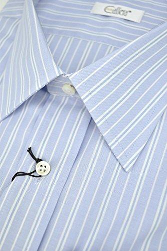 CASSERA Camicia Uomo Celeste Righe Azzurro Collo Italia