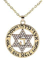 Lemegeton Judaísmo Star of David Colgante con collar de heno joyería judía hombre mujer regalo