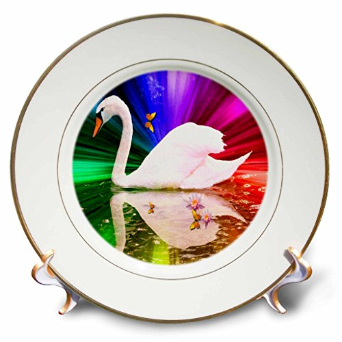 "3dRose cp_6557_1 Rainbow Swan Photography Bird Art Porcelain Plate, 8"""