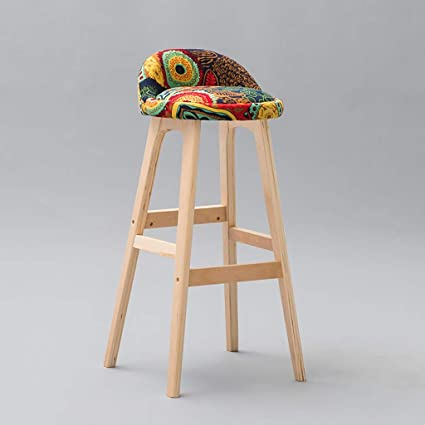 Bar Chairs Bar Furniture Backrest Solid Wood Bar Chair Bar Chair Bar Stool Bar Stool Simple Household High Chair Front Desk Chair.