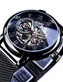 Forsining Minimalist Retro Design Staempunk Mechanical Skeleton Wrist Watch Transparent Business Mesh Band Watch
