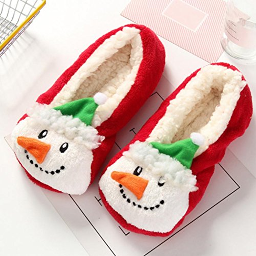 Shoes Plush Home Warm 2 Antiskid Soft Rainbow25 Couple Indoor Xmas Slippers Winter Women Men wq87x6U4