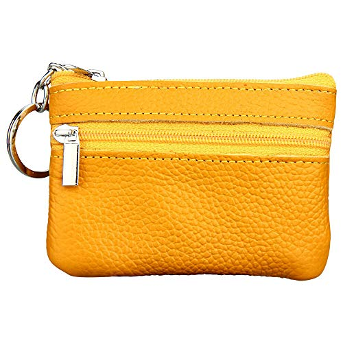 Mens/Womens Key Ring Desgin Soft Leather Small Coin Purse/Money Wallet Pouch (Colour - Yellow)