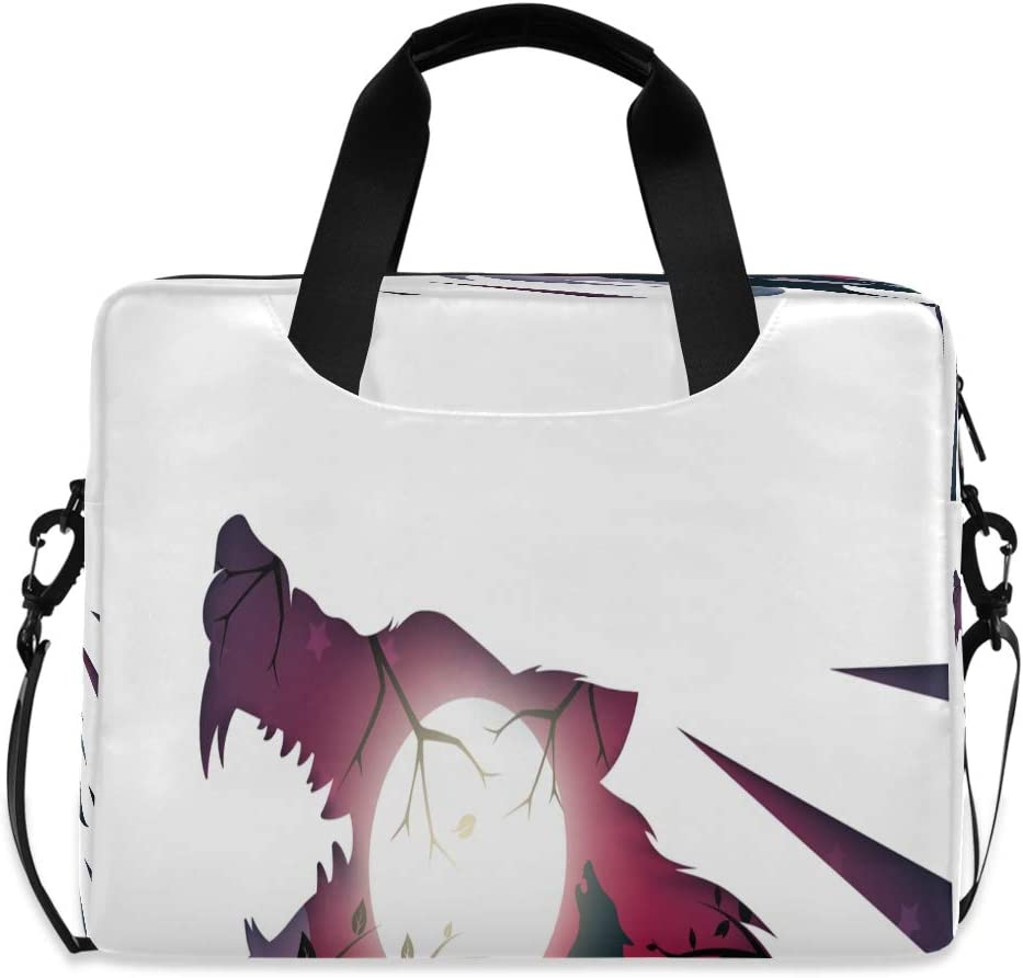 Laptop Bag Briefcase Shoulder Bag - Wolf Raven 15.6 Inch Tote Bag Laptop Messenger Shoulder Bag Laptop Sleeve, Great to Casual, Office