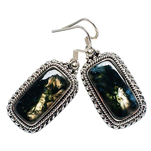 Green Moss Agate Earrings 1 3/4
