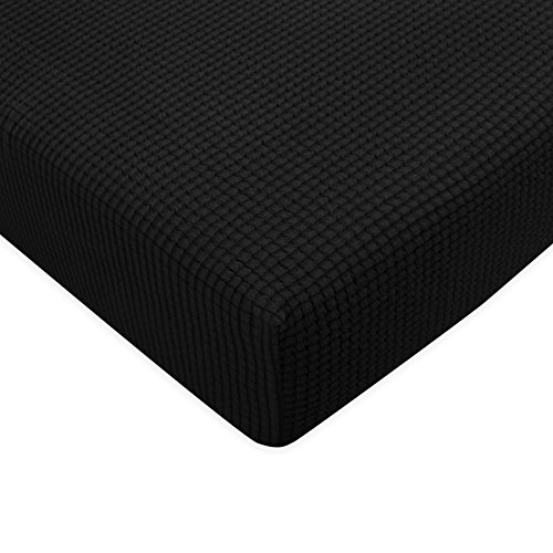 Cushion Cover Seat (Subrtex Spandex Elastic Couch Cushion Covers Stretch Chair Slipcover Furniture Protector for Sofa Seat Cushion(Loveseat Cushion Black))